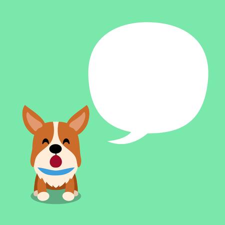 Cartoon character corgi dog and speech bubble