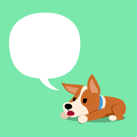 Cartoon character corgi dog and white speech bubble
