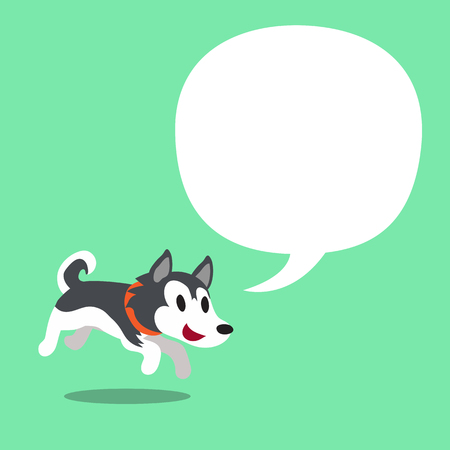 Cartoon character Siberian husky dog and a white speech bubble