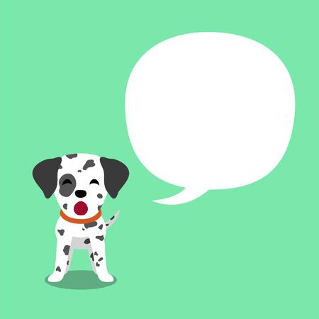 Cartoon character dalmatian dog and speech bubble