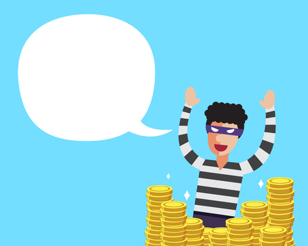 Vector cartoon a thief with big coins stack and white speech bubble