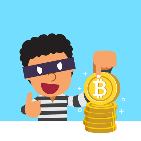 Cryptocurrency concept thief with big coin stack 向量圖像