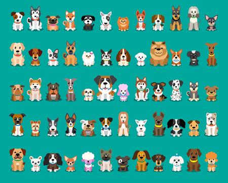 Différents types de chiens de dessin animé de vecteur Vecteurs