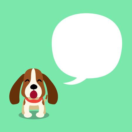 Vector cartoon character hound dog and speech bubble