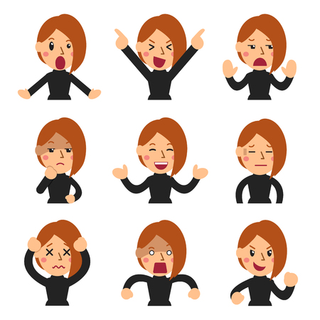Cartoon set of woman faces showing different emotions