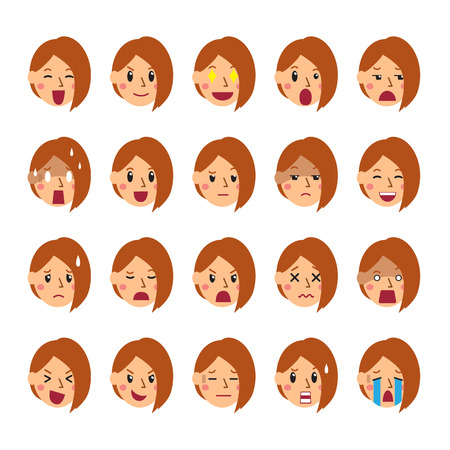 Vector cartoon set of a woman faces showing different emotions