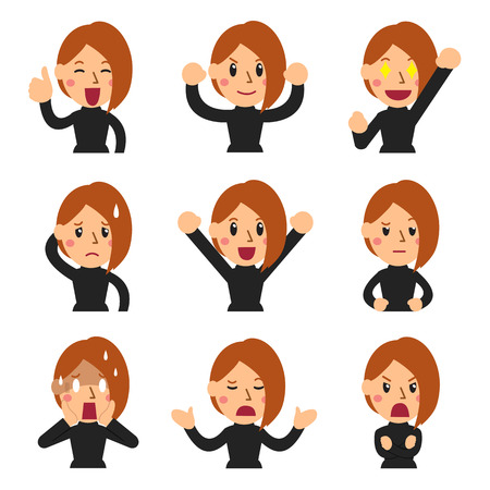 Vector cartoon set of woman faces showing different emotions