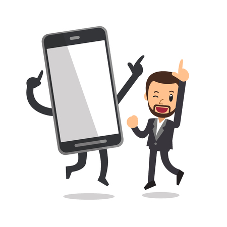 Vector cartoon businessman and big smartphone Illustration