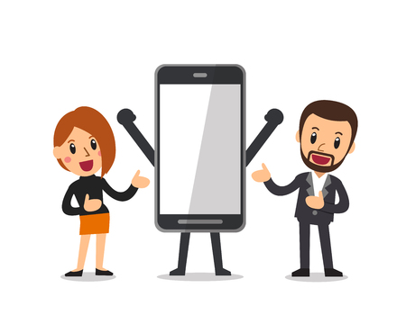 Vector cartoon businessman and woman with big smartphone Vettoriali