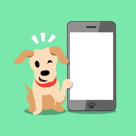 Vector cartoon character labrador dog and smartphone