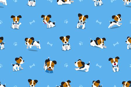 Vector cartoon jack russell terrier dog seamless pattern