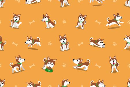 Vector cartoon siberian husky dog seamless pattern Vectores
