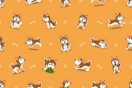 Vector cartoon siberian husky dog seamless pattern Illusztráció