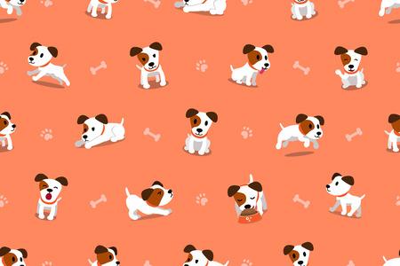 Vector cartoon character jack russell terrier dog seamless pattern