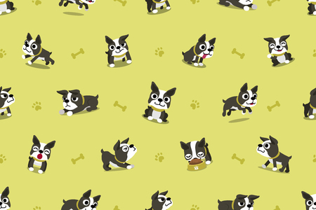 Vector cartoon character boston terrier dog seamless pattern Illustration