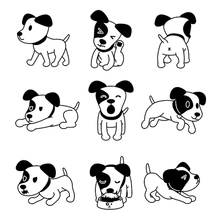 Set of vector cartoon character jack russell terrier dog poses