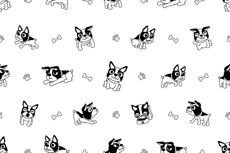 Vector cartoon character boston terrier dog seamless pattern  イラスト・ベクター素材