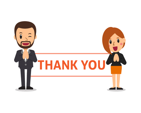 Vector cartoon business people holding thank you sign