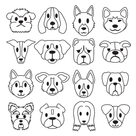 Vector cartoon different type dog faces