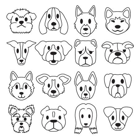Vektorkarikatur verschiedene Art Hundegesichter