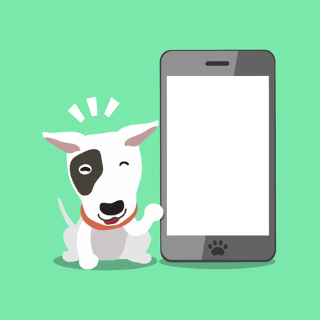 Cartoon character bull terrier dog with big smartphone