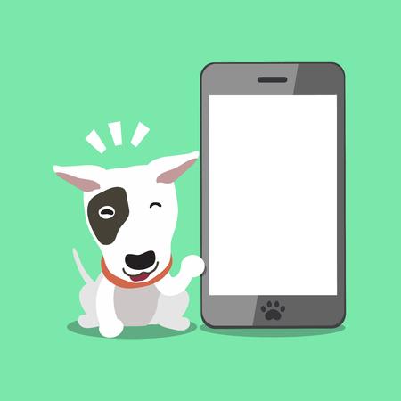Cartoon character bull terrier dog with big smartphone