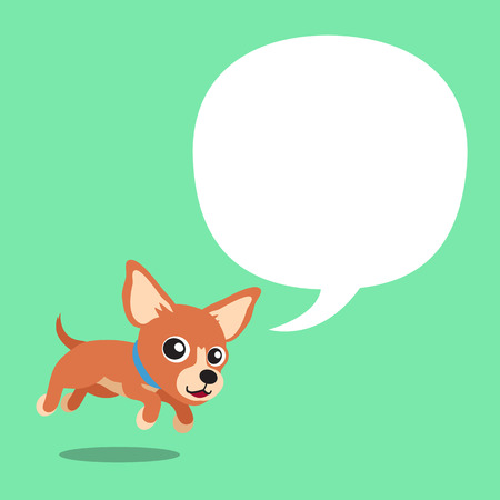Vector cartoon character brown chihuahua dog and a white speech bubble