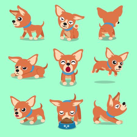 Vector cartoon character brown chihuahua dog poses