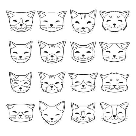 Vector cartoon different type cat faces Illustration