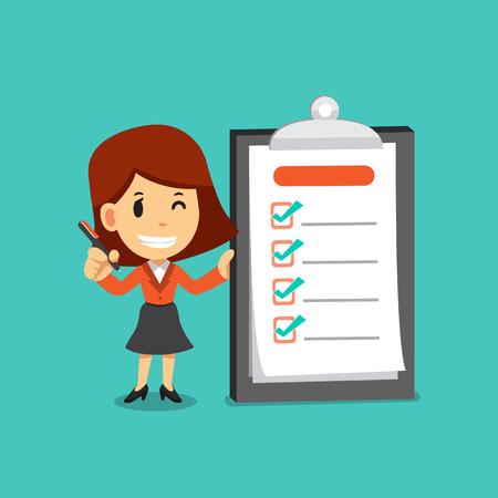 Vector cartoon zakenvrouw met een pen en voltooide checklist aan boord