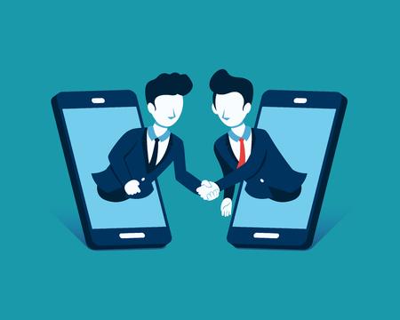 Business concept vector illustration businessmen shaking hands through display smart phones