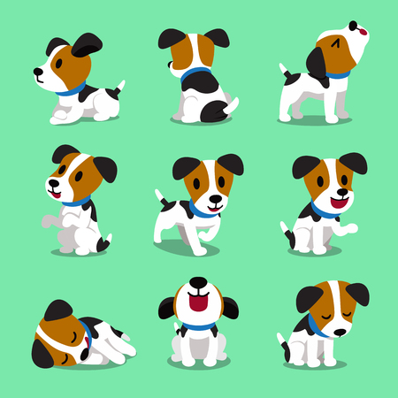 Cartoon character jack russell terrier dog set 矢量图像