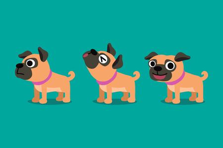 Set of vector cartoon character cute pug dog poses