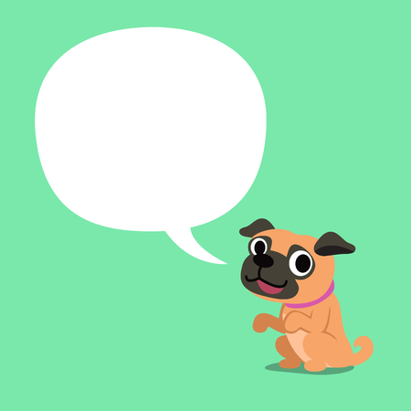 Cartoon character a pug dog and white speech bubble Stock Illustratie