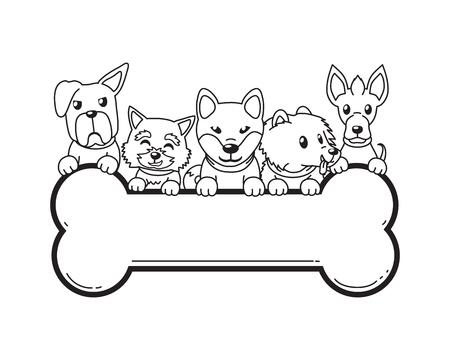Vector cartoon character dogs and big bone