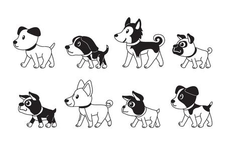 Different type of cute dogs walking vector cartoon illustration Vettoriali