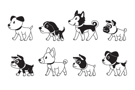 Different type of cute dogs walking vector cartoon illustration Illustration