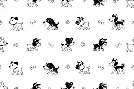 Vector cartoon character dogs seamless pattern Stock Illustratie