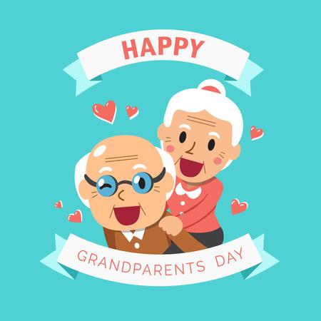 Vector cartoon illustration of happy grandpa and grandma grandparents day
