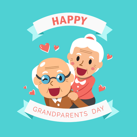 Vector cartoon illustration of happy grandpa and grandma grandparents day