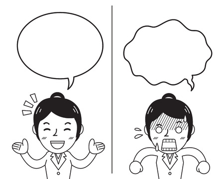 Cartoon businesswoman expressing different emotions with speech bubbles Ilustração