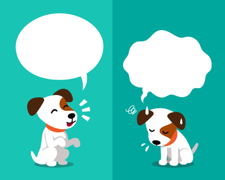 Vector cartoon character cute jack russell terrier dog expressing different emotions with speech bubbles