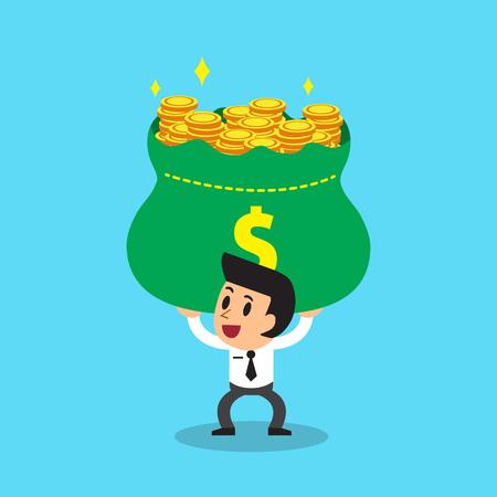 Vector cartoon businessman carrying big money bag