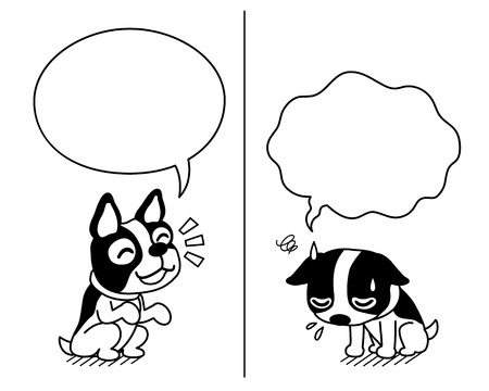 Vector cartoon character cute boston terrier dog expressing different emotions with speech bubbles  イラスト・ベクター素材