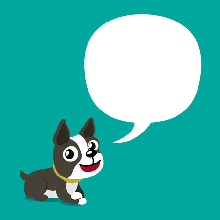 Vector cartoon character cute boston terrier dog with speech bubble  イラスト・ベクター素材
