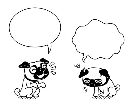 Vector cartoon character cute pug dog expressing different emotions with speech bubbles Vectores