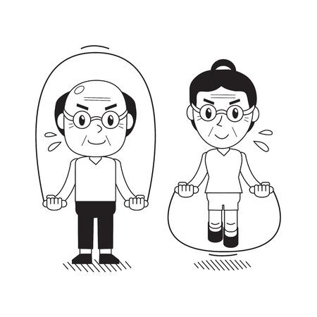 Vector cartoon senior man and woman jumping ropes