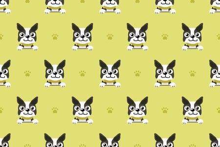 Vector cartoon character boston terrier dog seamless pattern 일러스트