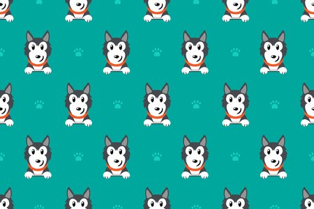 Vector cartoon character siberian husky dog seamless pattern