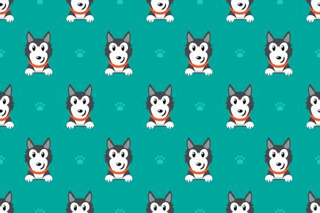 Vector de dibujos animados carácter perro husky siberiano de patrones sin fisuras